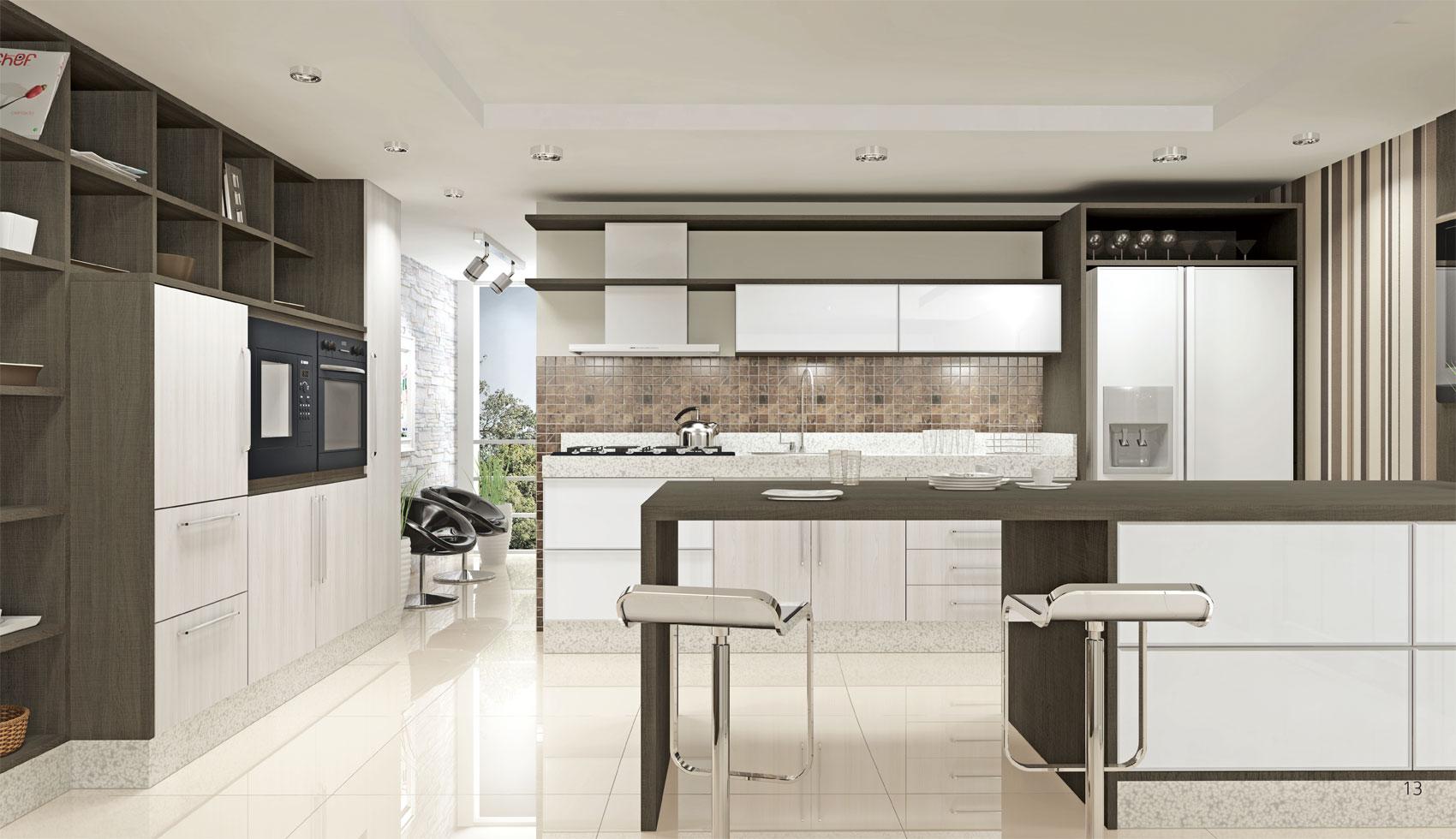 Cozinha Carvalho Sevilha e Ártico portas em Alumínio com vidro na cor Branca com puxador Titanius Mango